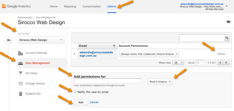 How to setup Admin Access to your Google Analytics etc.