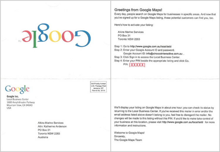 What does the Google My Business Postcard look like?